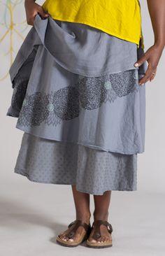 Lagenlook AND yellow and gray. Dapple Dance Skirt