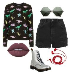 """Untitled #391"" by lame-spacemilk ❤ liked on Polyvore featuring Topshop, Lime Crime, Dr. Martens and FOSSIL"