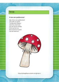 Versje: Ik ben een paddenstoel Ppr, Viria, Autumn Theme, Held, Pre School, Fall Crafts, Mathematics, Kindergarten, Projects To Try
