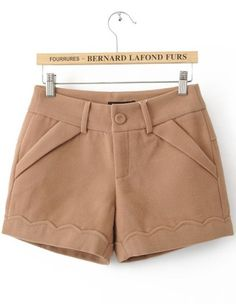 To find out about the Khaki Button Fly Flange Embellished Shorts at SHEIN, part of our latest Pants ready to shop online today! Short Outfits, Casual Outfits, Cute Outfits, Fashion Outfits, Shirts & Tops, Embellished Shorts, Chor, Mode Hijab, Pants Pattern