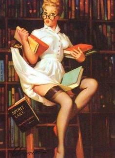 The first pin up librarian I've ever seen...FREAKING AWESOME!!!!! I love it guys. Even more motivation to become a librarian when I grow up!!