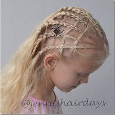 Spider Web Hairstyle by Jenni's Hairdays  - 13 creative Halloween Hairstyles