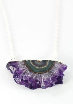 Koa necklace amethyst slice silver druzy by kealohajewelry https://www.etsy.com/listing/167508234
