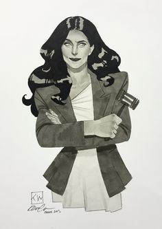kevin wada illustration: Greyscale She-hulk is a challenge, for sure.