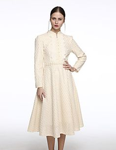 Women's Formal Vintage Swing Dress,Solid Crew Neck Midi Long Sleeve Yellow Cotton / Polyester Spring / Fall / Winter