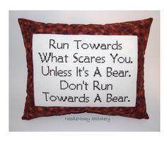 Funny Cross Stitch Pillow, Brown Pillow, Courage Quote. $23.00, via Etsy.