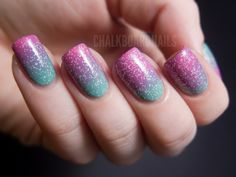 """""""Springtime pink and green gradient"""" by chalkboardnails -- ' a base of OPI Mermaid's Tears + sponged on a gradient with OPI If You Moust, You Moust + put Windestine Asbestos over the top to disguise any imperfections in the gradation. ' #pinkandgreennails #gradientnails #pinkpurplegreen #nailart"""