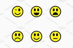 Smiley, Sad, Happy Faces Vector by TukTuk Design on @creativemarket