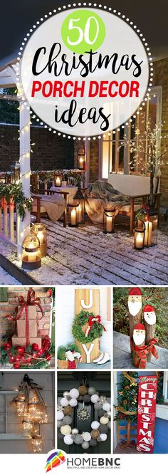 50 Fun and Festive Ways to Decorate Your Porch for Christmas is part of Christmas crafts Decorations - Whether you prefer a sleek modern look or antique and rustic touches, these 50 Christmas porch decorating ideas are sure to inspire you Noel Christmas, Outdoor Christmas Decorations, Country Christmas, Christmas Projects, Winter Christmas, Christmas Lights, Christmas Ideas, Simple Christmas, Christmas 2019