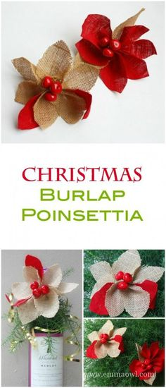 Easy DiY Christmas Decoration - Tree Ornament or Gift Idea. Burlap Poinsettia as beautiful and a great Christmas Craft Project