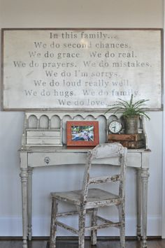 Shabby to Chic: Five Ways to Revamp and Modernize Your Shabby Chic Room - Sweet Home And Garden Shabby Chic Decor Living Room, Shabby Chic Kitchen, Shabby Chic Homes, Shabby Chic Furniture, Decorating A Large Wall In Living Room, Shabby Chic Entryway, Sweet Home, Up House, Family Signs