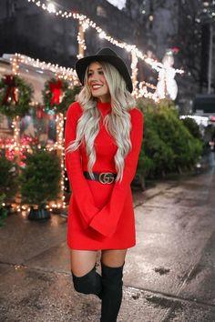 Christmas Fashion Outfits, Cute Christmas Outfits, Cute Fall Outfits, Holiday Outfits, Fall Winter Outfits, Classy Outfits, Stylish Outfits, Red Holiday Dress, Red Fashion Outfits