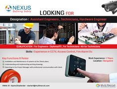 Nexus Safety Solutions Pvt Ltd, a renowned company in System Integrator is hiring for Engineers and Technicians . The company is providing technologies that combine innovation, quality and reliability. It has expertise into designing products and services that help to improve the quality of Security and Safety products and applications to make people's lives, assets and property more safe.  For more information check out : www.nexussafety.com