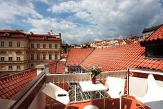 Have you already visited our terrace? There is a stunning view across the red roofs, so typical for Prague. #view #terrace #rooftop #HotelSAX #ResidenceJamesHouse