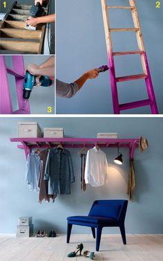 Check out the idea: DIY Ladder Storage Rail crafts homedecor - Diy for Home Decor Cheap Home Decor, Diy Home Decor, Room Decor, Small Space Living, Small Spaces, Ladder Storage, Diy Ladder, Ladder Hanger, Ladder Shelves