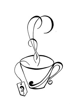 Tea and Teacup drawing for Paula. black and white drawings. Black And White Lines, Black And White Drawing, Tea Cup Drawing, Handmade Christmas Gifts, Teacup, Cup And Saucer, Drawing Ideas, Art Nouveau, Journaling