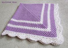 Купить Детский сиреневый вязаный крючком плед - детский плед, детское одеяло, Бабушкин квадрат