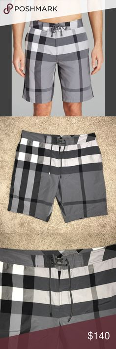 MEN'S BURBERRY BRIT CHECK SWIM SHORTS - WORN ONCE Men's Burberry Brit Check Swim Shorts. Worn once. Color: Charcoal. Size: XL. Burberry Swim Board Shorts