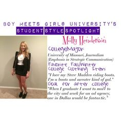 """BMGU Student Style Spotlight: Meet Molly!"" by boymeetsgirlusa on Polyvore"