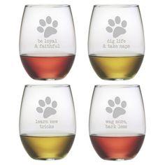 Wayfair.com Dog Wisdom Wine Glasses