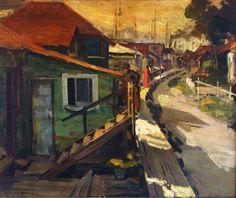 """Jean Mannheim """"Monterey Fishing Village"""" 20x24 Oil on Canvas"""