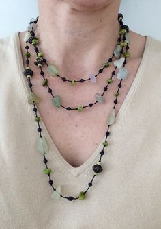 Love the combination of copper, glass stones, and beads. Hard to beat. Lots of different textures. $20 https://www.etsy.com/listing/218733361/stones-and-beads-necklace-green-stones?ref=shop_home_active_9