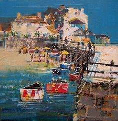 HARBOUR WALL, ST.IVES  12X12INS100_7947  Looks like a tropical paradise :)