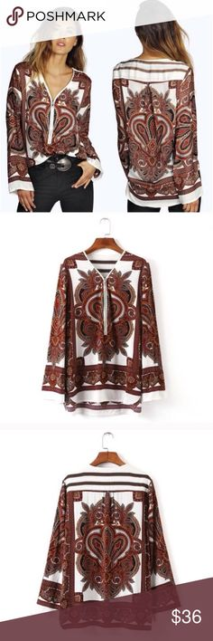 ❣LAST-M❣ Boho Zip Front Paisley Brown Loose Blouse Adorable tunic blouse. Brand new. Available in sizes S M L. Low quantity. Runs true. Super cute for the summer or for fall! Comment for restock Tops Blouses