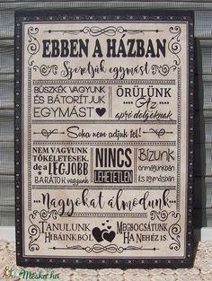 Ebben a házban... szöveges falikép, táblakép a családról (vintagedesign) - Meska.hu
