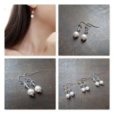 "Boucles d'oreilles mariage ""Pearl"" avec perles swarovski"