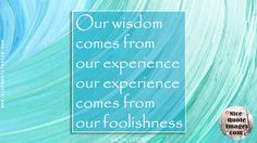 """Wisdom Quotes  """"Our wisdom comes from our experience, and our experience comes from our foolishness.""""  Sacha Guitry"""
