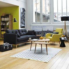 Canapé 3 places en tissu anthracite | Maisons du Monde