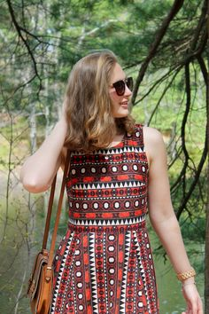 African printed cutout back dress for summer look