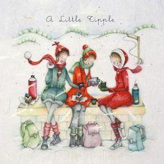 "Cards "" A Little Tipple "" - Berni Parker Designs ღ✟ Noel Christmas, Vintage Christmas Cards, Christmas Pictures, Xmas Cards, Greeting Cards, Christmas Decoupage, Crazy Friends, Clip Art, Illustrations"