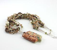 Multi Strand collar de perlas melocotón por AbacusBeadCreations, $78.00