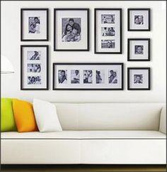 Outra disposição de quadros numa sala. Mais enquadrado e mais em linhas retas