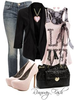 LOVE everything about this look.  The light feminine pink, the black blazer, the comfy jeans.