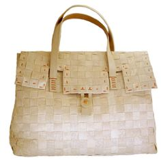 Henry Cuir Handbag Chalk white woven flap front toggle
