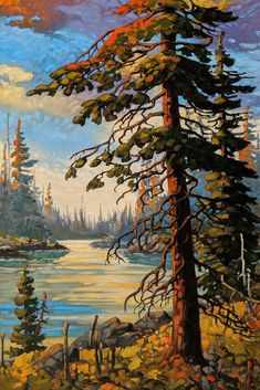 Original oil by Rod Charlesworth, Small Paintings, Landscape Paintings, Original Paintings, Landscapes, Tree Paintings, Group Of Seven Artists, Cool Art, Awesome Art, Pacific Rim