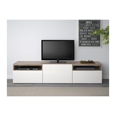 BESTÅ TV unit - walnut effect light gray/Selsviken high-gloss/white, drawer runner, soft-closing - IKEA