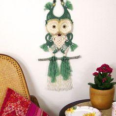 Macrame Owl Virgil - Green Macrame Wall Hanging, Cute Bird Decoration, Childrens Room Décor, Forest Animals, Owl Wall Art