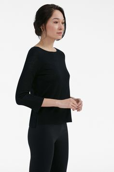 There's more than meets the eye with this luxurious, double-faced merino top. With contrast wool lining that's visible at the cuffs and side vents, it has a cool boxy fit that pairs beautifully with a pair of straight-cut pants or a form-fitting dress. Black Cream, Black And White, Straight Cut Pants, Work Uniforms, How To Show Love, Black Tops, Beauty, High Definition, Dresses