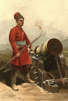 Iran Politics Club: Iranian Military Uniforms Pictorial History Afsharid Persian Afsharid Imperial Persian Colonial Army Artilleryman with Short Barrel Cannon 18 AD Afsharid Army Artillerymen (Toopchi) were explosive experts and mighty great shots. Medieval, Turkish Soldiers, Ottoman Turks, Turkish Art, Historical Art, Ottoman Empire, Military History, 17th Century, Persian