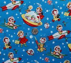 Michael Miller Retro Fabric | Retro Rocket Rascals, Michael Miller, 50s Repro Fabric