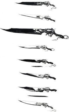 art video games concept art weapons final fantasy viii Squall concept design gunblade weapon design
