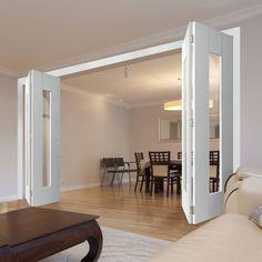 Four Folding Doors & Frame Kit - Axis White - Clear Glass Convert Garage To Room, Internal Folding Doors, Room Divider Doors, Inside Doors, Single Doors, Sliding Doors, Glass Door, Clear Glass, House Design