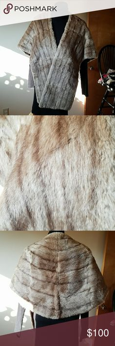 VINTAGE  Fur Cape Georgeous and in excellent condition.   No worn spots, no shedding.  Silk lined backing with arm straps.  No labels. Accessories Scarves & Wraps
