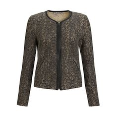 Buy Jigsaw Lace Jacquard Biker Jacket, Grey Online at johnlewis.com
