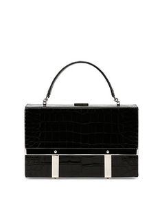 Cage Crocodile-Stamped Case, Black by Alexander McQueen at Bergdorf Goodman.