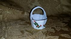 "VINTAGE ""CHRISTMAS HOLLY"" Tiny Fine Porcelain Basket by NookHook on Etsy"
